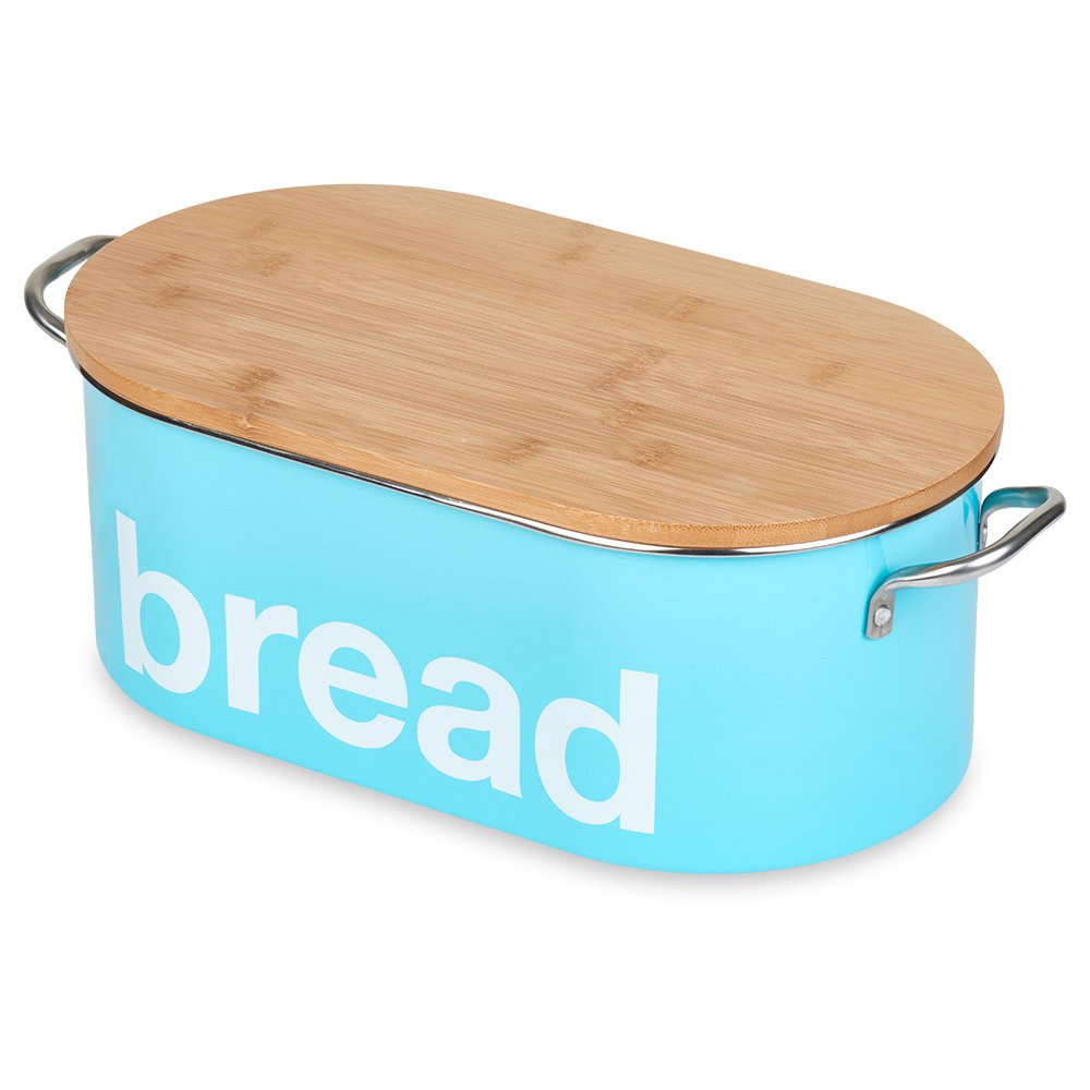 Bread Bin for Kitchen Counter, Bread Storage Box, Food Storage Container, Bamboo Lid, Turquoise by Blue Donuts