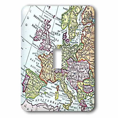 3dRose LLC lsp_112938_1 Vintage European Map Of Western Europem Britain Uk France Spain Italy Etcm Retro Geography Travel Single Toggle Switch by 3dRose