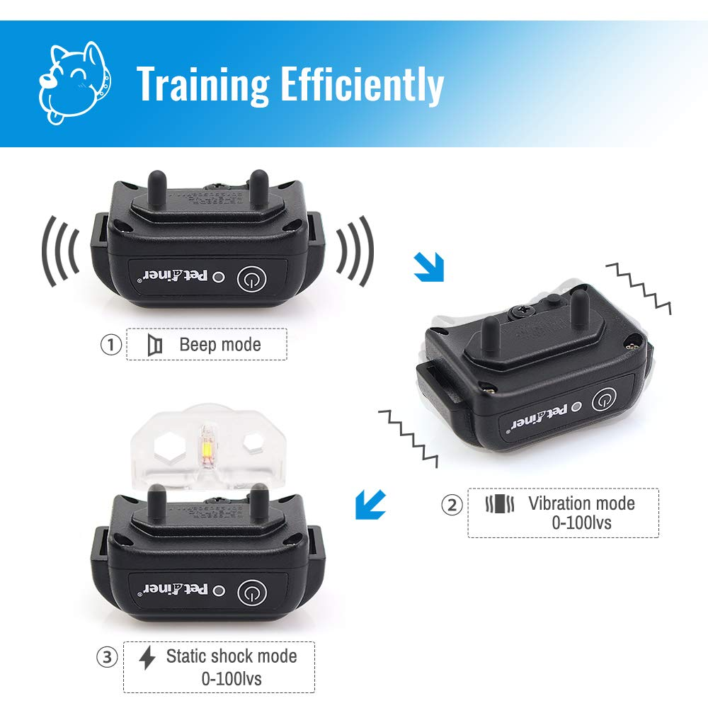 Petrainer PET998DBB 100% Waterproof Dog Shock Collar with Remote Dog Training Collar with Beep/Vibra/Shock Electric E-collar, 300yd Range by Petrainer (Image #4)