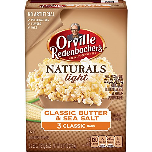 Orville Redenbacher's Naturals Light Classic Butter & Sea Salt Microwave Popcorn, Classic Bag, 2.69 Ounce (Pack of 3)