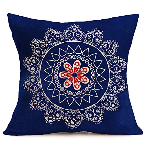 Birdfly Galaxy Mandala Print Throw Pillow Cases Modern Flax Cushion Covers Art Designs Decorative Pillowcase Home Office Rooms Bed Sofa Car Decoration (C)