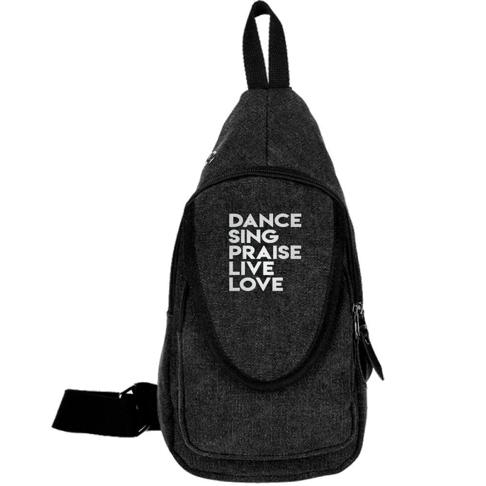 DANCE SING PRAISE LIVE LOVE Fashion Men's Bosom Bag Cross Body New Style Men Canvas Chest Bags Black by BeiYou (Image #1)