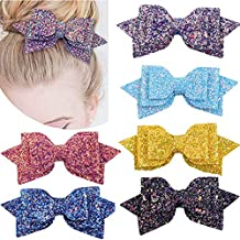 LOVEYIKOAI 6 PCS Hair Bows for Girls 5 Inches Big Bling Sparkly Glitter Hair Bows Alligator Hair Clips Hair Accessories for Baby Girls Kids Children Teens Women on Party