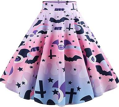 Halloween Decorations Skater Skirt XS-3XL Stretch Flared Short Skirt