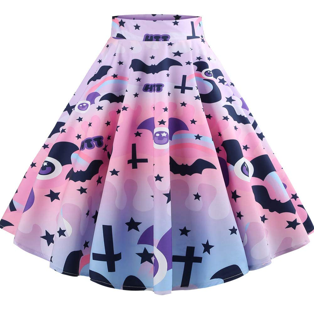 NREALY New Women's Casual Retro Halloween Printing Evening Party Skirt Swing Skirts NREALY-skirt-0904