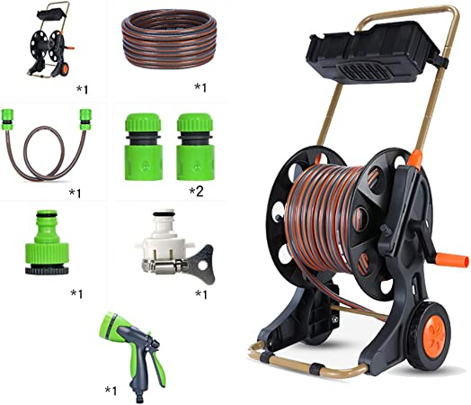 Amazon Com Lisa Hose Pipe Reel Trolley Garden Hose Reel Cart Multifunctional Garden Hose Trolley For Watering And Car Washing With Storage Box Garden Outdoor