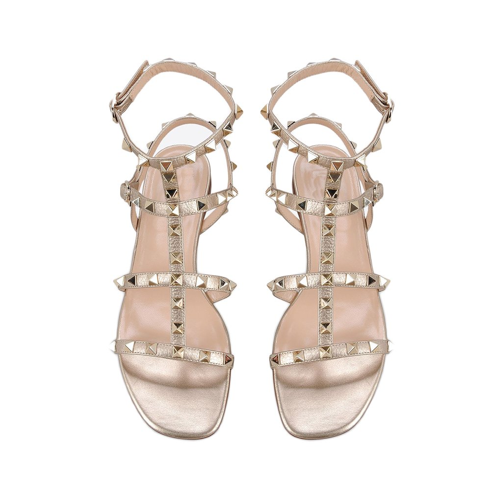 VOCOSI Women's Flats Sandals,Rivets Studs Ankle Strap Strappy Summer Sandals Shoes B071G2X5HR 12 B(M) US|Gold