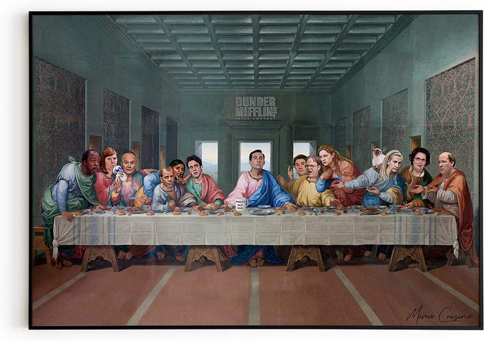 Meme Cuisine The Last Supper at Dunder Mifflin Poster - The Office TV Show Wall Art Print, Funny Home Decor 24x36