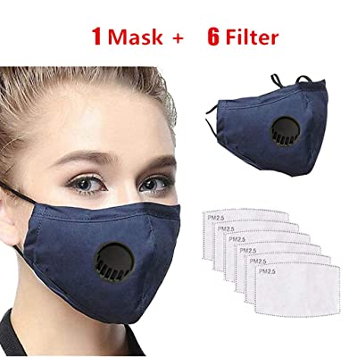 nobrand Cikyoo 1pcs Face Protective + 6pcs Filters Cotton Washable Reusable Mouth Protection Face Bandanas Men Women Adults (Blue): Sports & Outdoors
