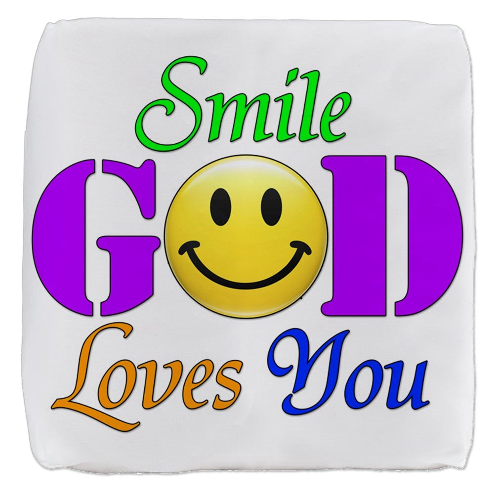 18 Inch 6-Sided Cube Ottoman Smile God Loves You by Royal Lion