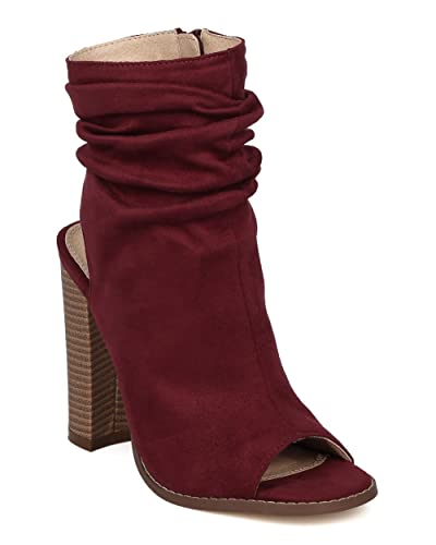 EE59 Women Suede Peep Toe Ankle Cutout Block Heel Slouch Bootie - Wine Faux Suede
