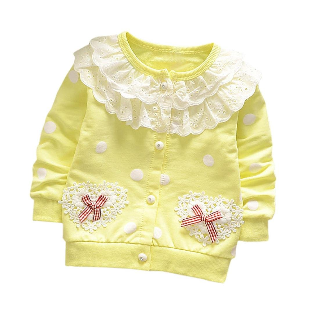 Toddler Kids Girls Solid Lace Bows Spring Autumn Fashion Casual Thin Coat Soft Cotton Jacket Open Stitch Outerwear Cardigan Clothes for 6M~3Years Old Baby Girls