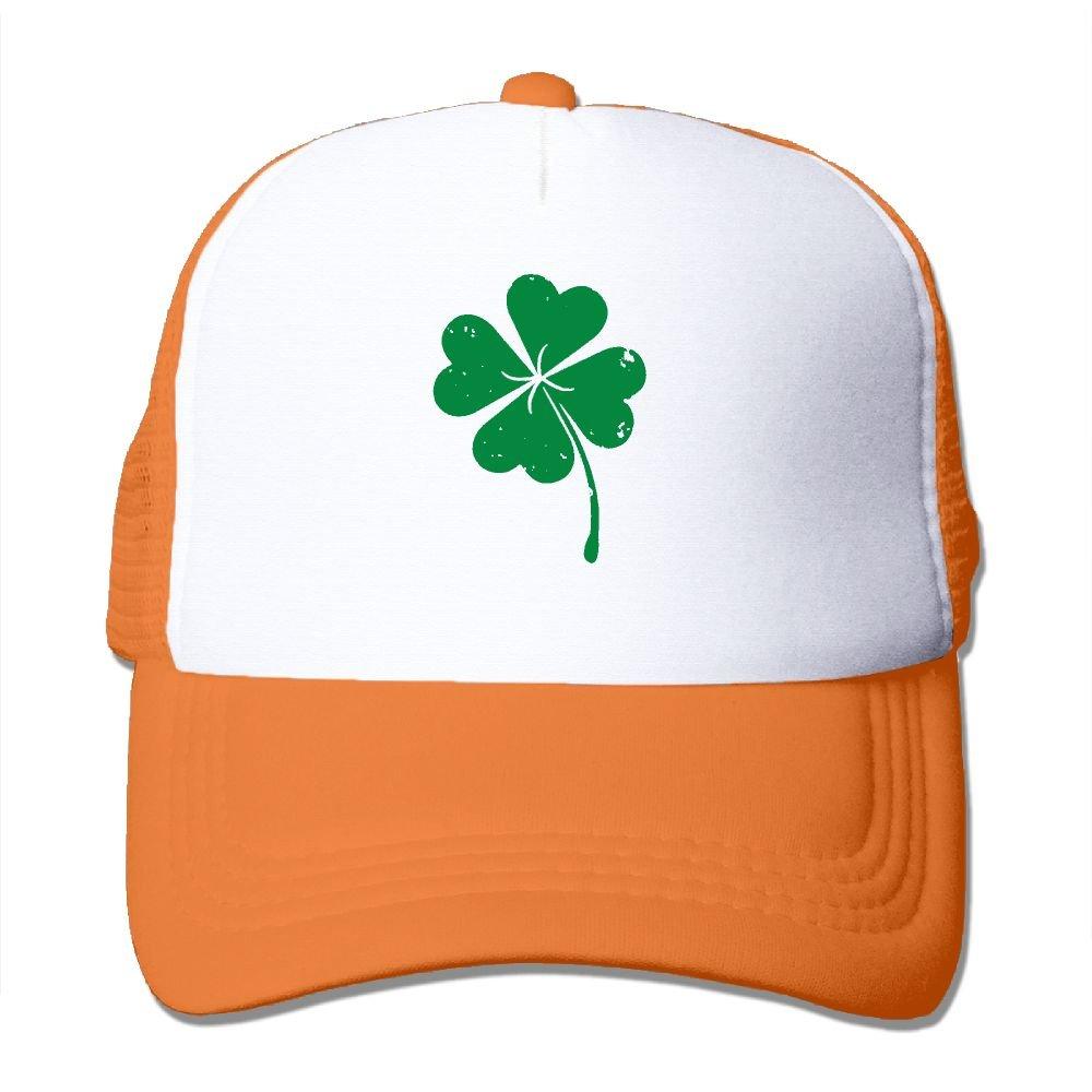Saint Patricks Day Irish Trucker Cap Hat Orange AKQQ0XXA Custom Particular Adult TeeStars Four-Leaf Clover