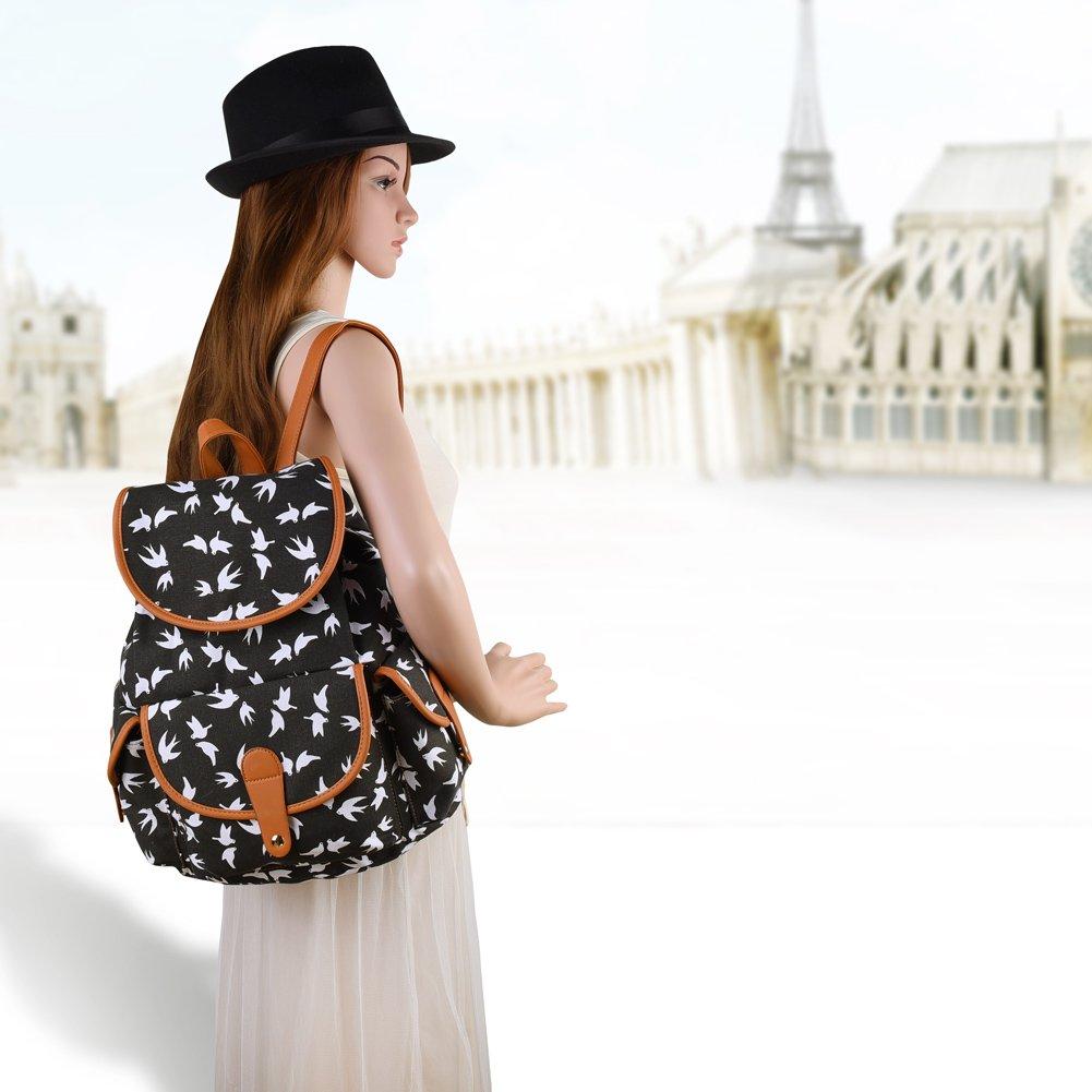 Vbiger Canvas Backpack for Women & Girls Boys Casual Book Bag Sports Daypack (Bird Black) by VBIGER (Image #8)