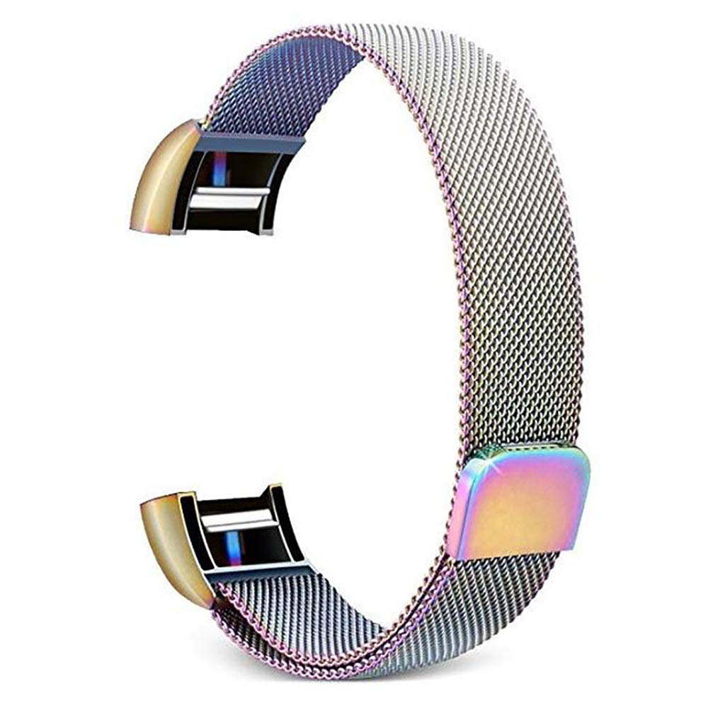 for Fitbit Charge 2 Band –Erencook Stainless Steel Magnet Metal Replacement Bracelet Strap for Women Men (L, Colorful)