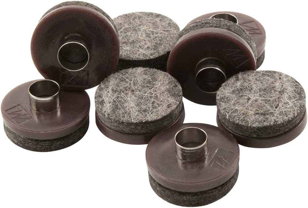 """Nail-On Heavy Duty Felt Pads for Wood Furniture and Hard Floor Surfaces – Protect your Hard Floor Surfaces from Scratches, 1"""" Round Furniture Protectors, Walnut Brown (8 Pieces)"""