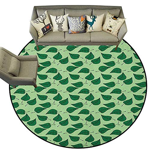 Leaves,Printed Carpet Foliage Pattern with Doodle Style Illustration Composition of Nature D60 Floor Mats Modern Kitchen Rug