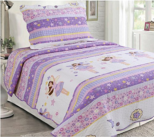Mk Collection 2 Pc Bedspread Teens/girls Pink Purple Stars Flowers New (Purple Girls Bedding)