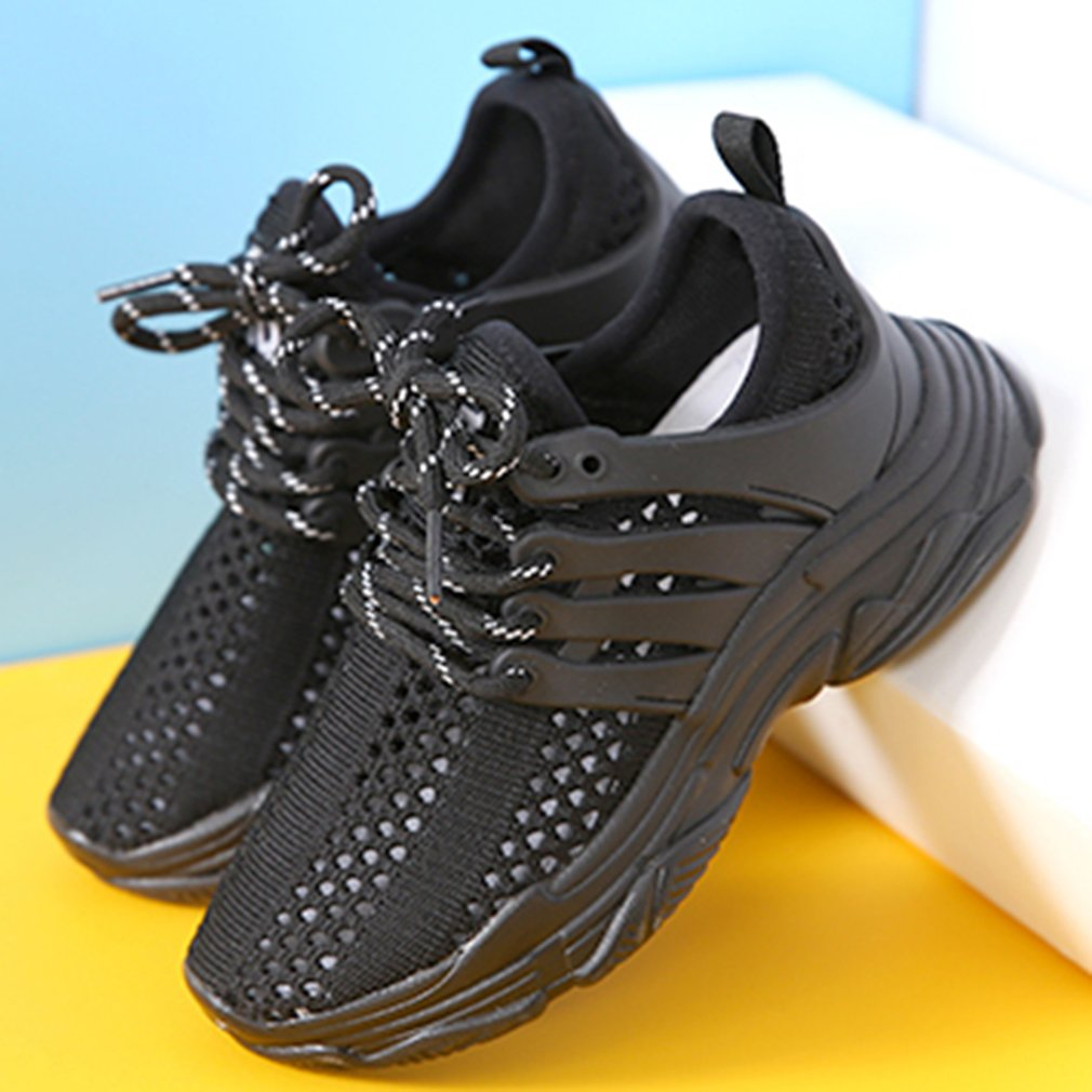 VECJUNIA Boys Girls Perforated Mesh Lace up Non-Slip Fashion Sneakers Summer