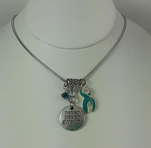 9fe8188ff Image Unavailable. Image not available for. Color: Never Never Give Up Charm  Necklace with Teal Crystal Dangle and Ovarian Cancer Awareness Ribbon