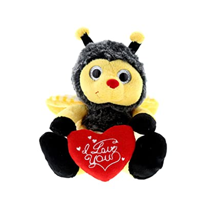 DolliBu Sitting Bumble Bee I Love You Valentines Stuffed Animal - Heart Message - 7 inch - Super Soft Plush - Item #K5017-5999: Toys & Games