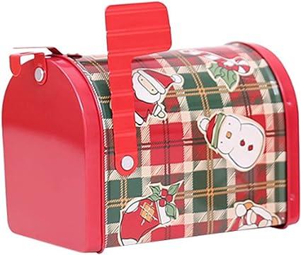 FineInno Navidad Caja Dulces Cajas Regalo Tarro Metal Almacenaje Contenedor Hermetico Tinplate Tins Jar para Chuches,Galletas, Especias, Patrón Aleatoriamente (estilo de buzón 2): Amazon.es: Oficina y papelería