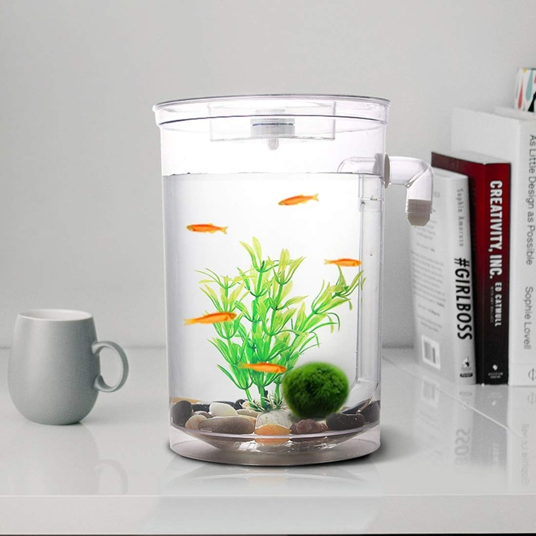 Perfect Home Round Plastic Creative Ecological Desktop Mini Aquarium gold Fish Bowl, Lazy Water Tank with Cobblestone, Tree Plant Grass, LED Light and Water Outlet Durable