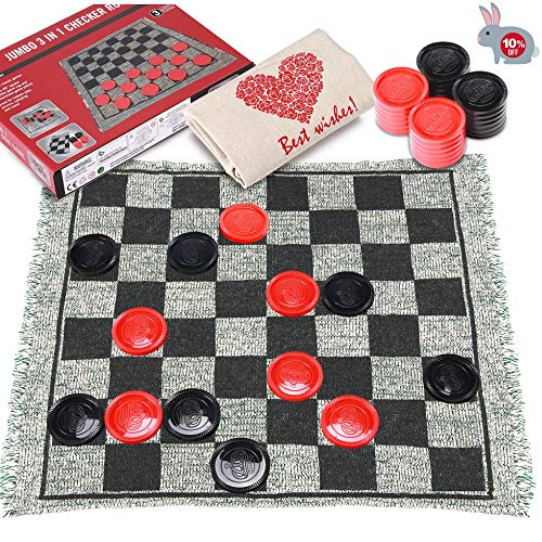 Checkers Board Game for Kids, 3 in 1 Giant Checkers Set and Tic Tac Toe Game with Reversible Rug, Classic Indoor and Outdoor Board Game for Family