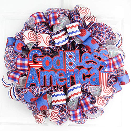 Fourth of July Independence Day Mesh Door Wreath | red white blue | God Bless America