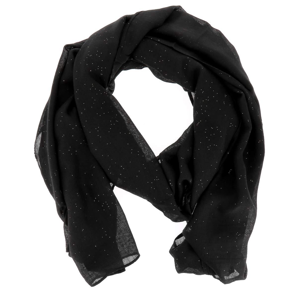 8f480e82d11f Foulard Noir Paillette - Foulard Femme - Echarpe Femme - Foulard Paillette  - Etole - Foulard