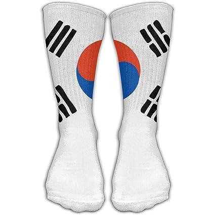 WEEDKEYCAT Calcetines Altos para Hombre y Mujer, con Bandera de Corea del Sur, Algodón
