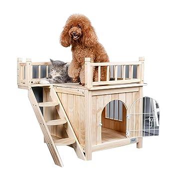 Casetas para perros Casa De Mascotas Jaula para Perros Casa De Gatos Interior De Madera Maciza Jaula para Gatos Jaula De Mascotas Jardín Exterior Doble ...