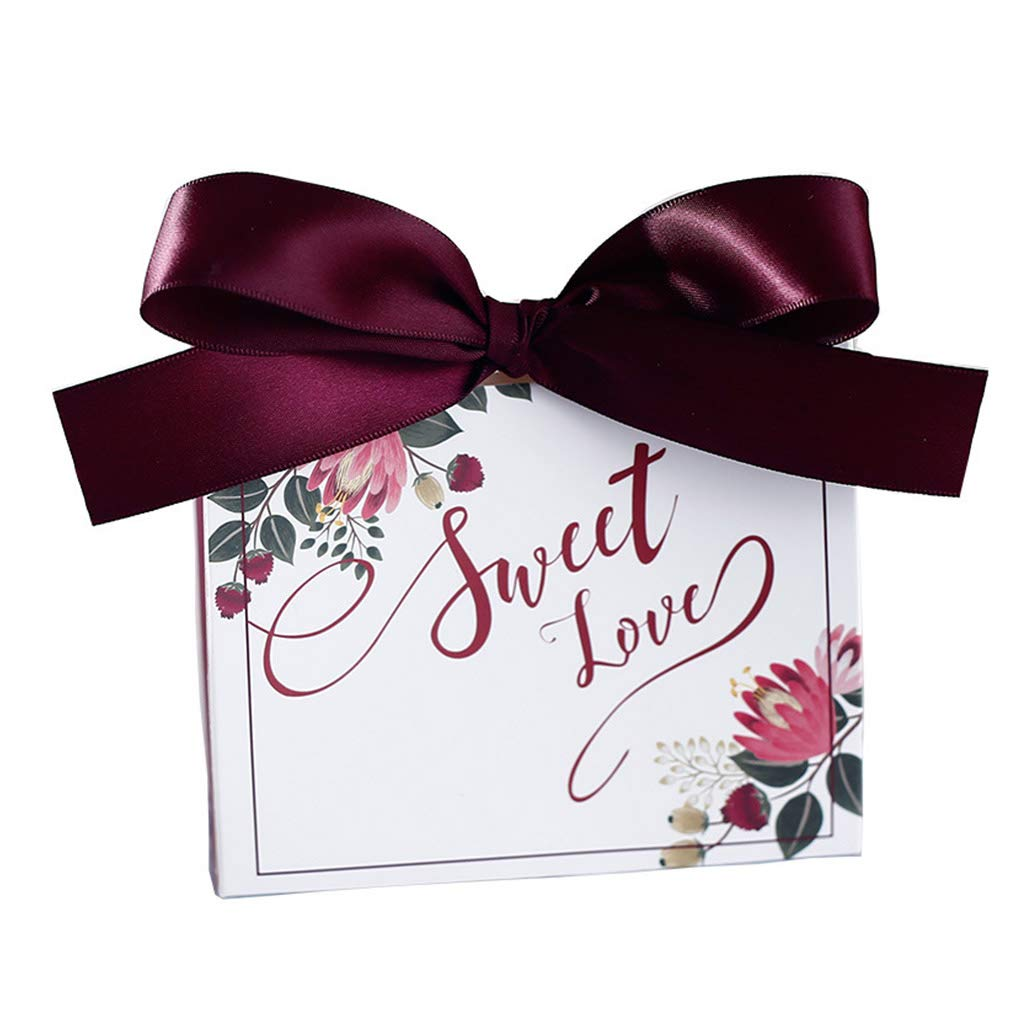 DIY Printed Wedding Candy Boxes, Creative 100 Pcs Guests Favour Boxes with Ribbons, for Wedding Party Anniversary Bridal Shower Use 100pcs
