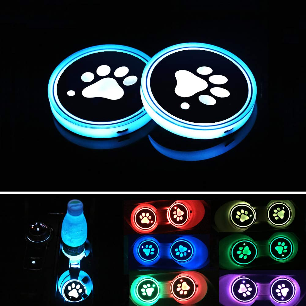 BukNikis LED Car Cup Holder Mats Pads Dog Paw RGB LED Lights Car Drink Coaster Accessories Interior Decoration Atmosphere Light - Universal (Pack of 2)