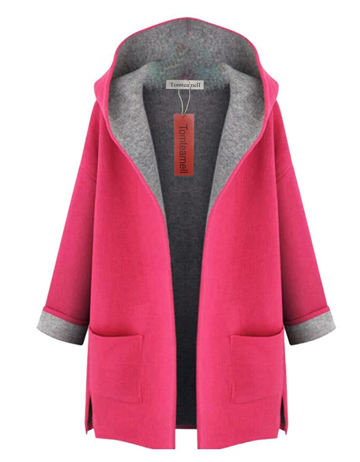 Womens Coat with Hood, Long Sleeve Mid Lengh with Two Pockets