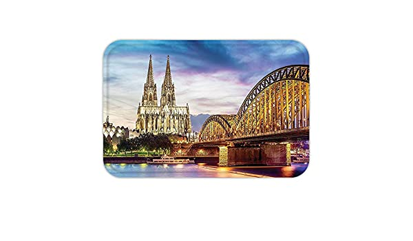 kisscase Custom puerta mateuropean Cityscape Decor Illuminated Dom en Colonia antiguo puente y Rin al atardecer cultura europea impresión Decor Multi: ...