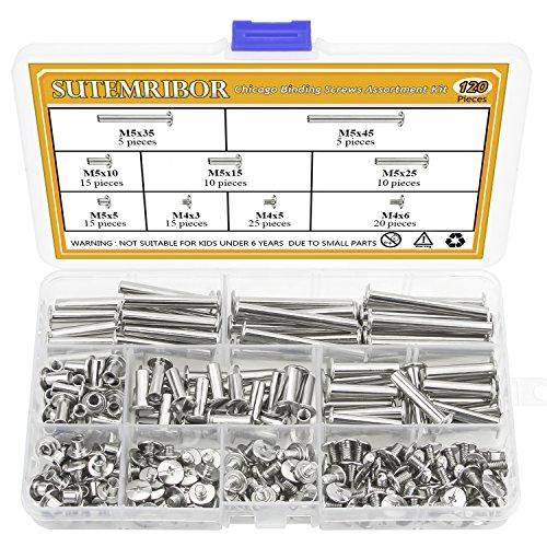 Sutemribor 120Pcs M5 x 5/10/15/25/35/45 Chicago Screw Binding Screws Posts Assortment Kit for DIY Leather Bookbinding Crafts ()
