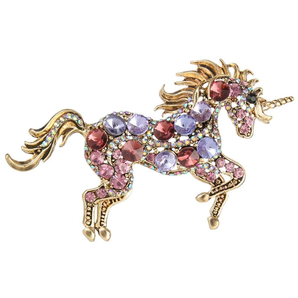 EVER FAITH® Austrian Crystal Vintage Style Running Unicorn Brooch Pendant Gold-Tone N02281-8