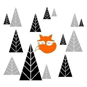 JUEKUI Woodland Fox Trees Wall Decor Sticker Removable Vinyl Wall Decal for Kids Rooms Nursery Room Decoration WS25 (Black+Light Grey+Orange)
