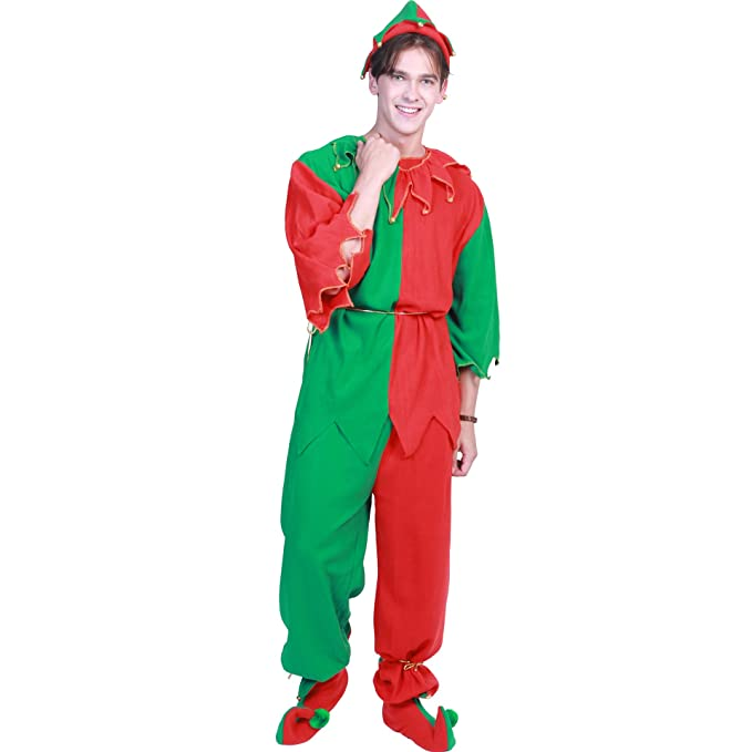 f5b6c5659d8 xingmeihe Men's Elf Costume Halloween Christmas 7 Pieces Adult Outfit Set  Kit