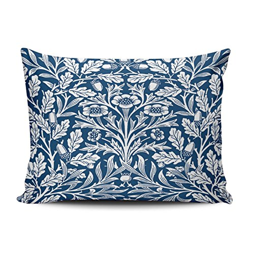 ONGING Decorative Pillowcases Art Nouveau Floral Damask Cobalt Blue and White Customizable Cushion Rectangle Boudoir Size 12x20 Inch Throw Pillow Cover Case Hidden Zipper One Side Design Printed (Nouveau Zip Back)