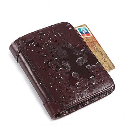 LMDZSW Bison Denim de Cuero Genuino RFID Billetera Hombres ...