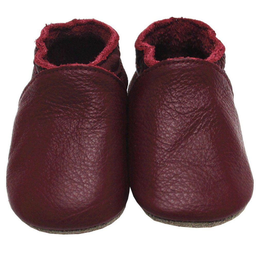Mejale Baby Soft soled Leather Moccasins Anti-Slip Infant Toddler Pre-Walker Shoes(Wine Red,12-18 Months)