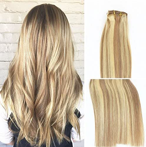 Vario Clip in Hair Extensions Human Hair Double Weft Brazilian Hair 15 Inch Mixed Bleach Blonde 7pcs 70g Set Silky Straight 100% Real Remy Human Hair Extensions Balayage Hair
