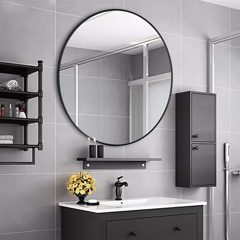 Rumcent Large Modern Round Metal Framed Wall Mounting Mirror