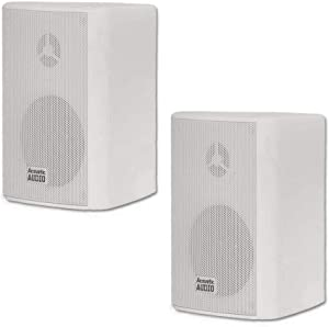 Acoustic Audio by Goldwood AA351W 2 Way High Performance Indoor Outdoor 500W Speakers with Powerful Bass (1 Pair, White)