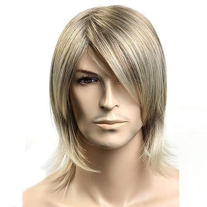 Peluca de los hombres, peluca cosplay del pelo corto, natural esponjoso,Gold