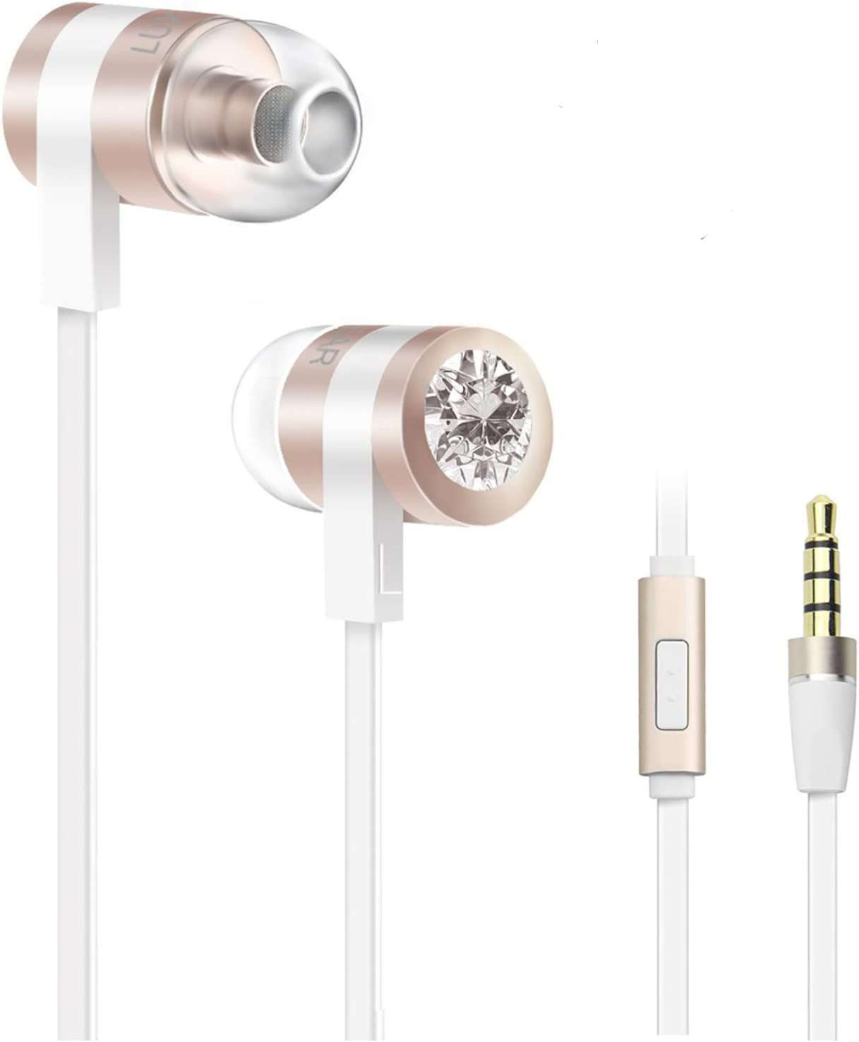 Earbuds with Microphone, LUXEAR in-Ear Stereo Headset Earphones with Remote Control Clear Sound, Noise-isolating, Ergonomic Comfort-fit, for All Android Smartphone(Gold)