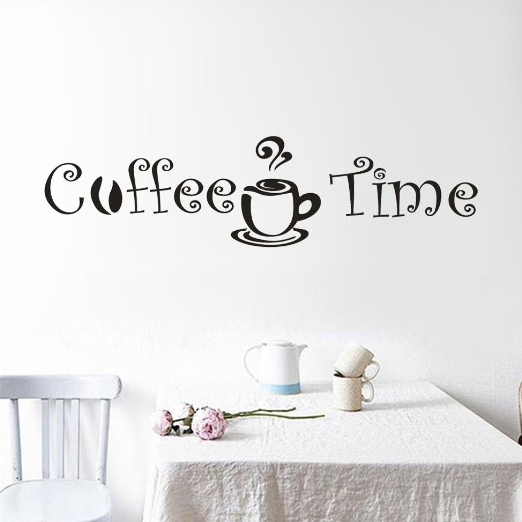 Snowfoller Vinyl Wall Decal Sticker Art Decor -Coffee Time Removable Wall Stickers Kitchen Bar Home Decor