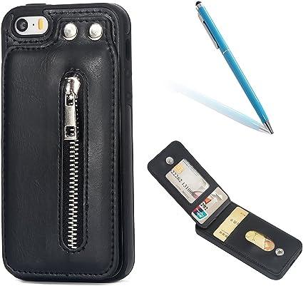 CLTPY Cover per iPhone 5s, iPhone SE Custodia con Supporto, Caso a Portafoglio in Silicone e Pelle con Slot per Schede e Tasca con Cerniera per Apple ...